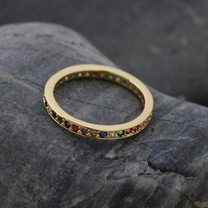 Gold Tone with Multi-Color Zircon Crystal Ring